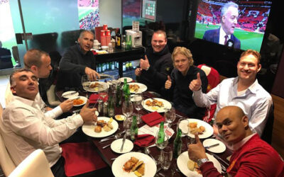 Watching Manchester – Everton with our customers